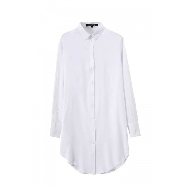 White Vintage Retro Cotton Long Sleeves Blouse Shirt