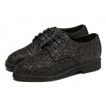 Black Glitter Bling Bling Lace Up Oxfords Dress Shoes
