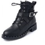 Black Cross Straps Metal Studs Grunge Combat Military Boots Shoes