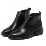 Black Square Metal Studs Vintage Punk Rock Chelsea Ankle Boots Shoes