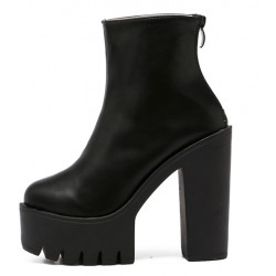 Black Chunky Cleated Sole Block High Heels Platforms Boots Shoes