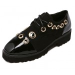 Black Patent Metal Studs Ring Grunge Lace Up Oxfords Shoes