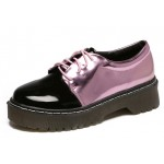 Black Patent Pink Metallic Lace Up Baroque Oxfords Shoes