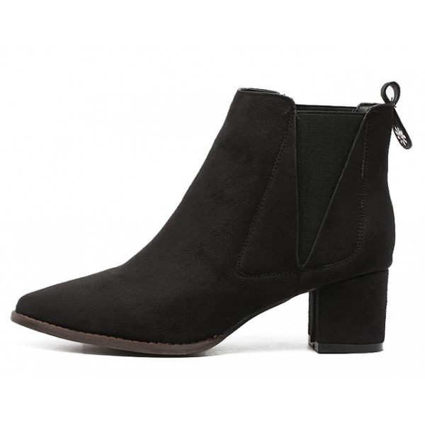 Black Suede Pointed Head Chelsea Ankle Boots Shoes
