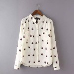 Cream Burgundy Owls Retro Pattern Long Sleeves Blouse Shirt