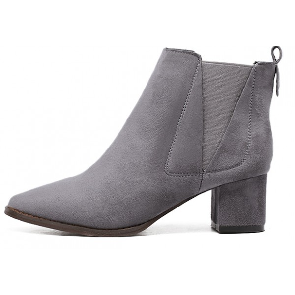Grey Suede Pointed Head Chelsea Ankle Boots Shoes