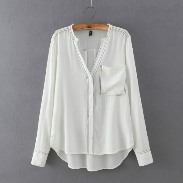 White Black Stitches Cotton Long Sleeves Blouse Shirt