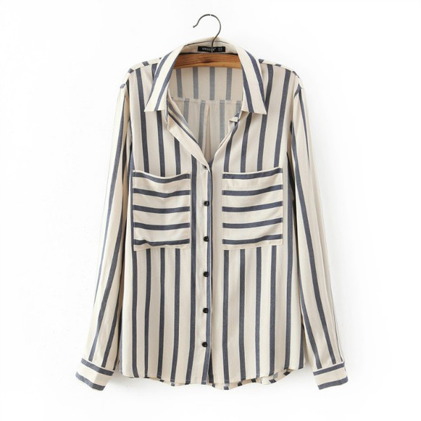 Cream Blue Stripes Vintage Retro Pattern Chiffon Long Sleeves Blouse Shirt