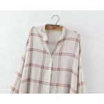 White Burgundy Checkers Pattern Vintage Retro Pattern Cotton Long Sleeves Blouse Shirt
