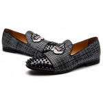 Black Grey Plaid Spikes Embroidered Mens Loafers Prom Dress Shoes