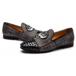 Black Red Plaid Spikes Embroidered Mens Loafers Prom Dress Shoes