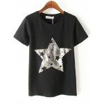 Black White Silver Stars Sequins Short Sleeves T Shirt Top