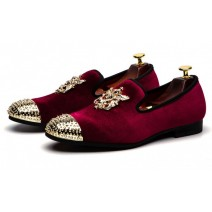 Burgundy Velvet Gold Spikes Mens Loafers Prom Dress Shoes