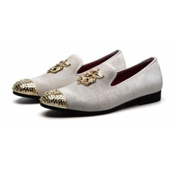 White Velvet Gold Spikes Mens Loafers Prom Dress Shoes