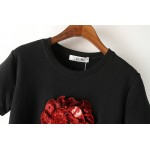 Black White Red Rose Flower Sequins Short Sleeves T Shirt Top