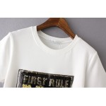 Black White First Rule no Rules Gold Sequins Short Sleeves T Shirt Top