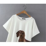 White Dachshund Dog Cartoon Cropped Short Sleeves T Shirt