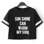 Green Black Sun Shine Can Warm My Soul College Cropped Short Sleeves T Shirt Top