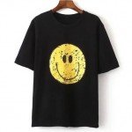 Black White Yellow Smile Happy Face Short Sleeves T Shirt Top