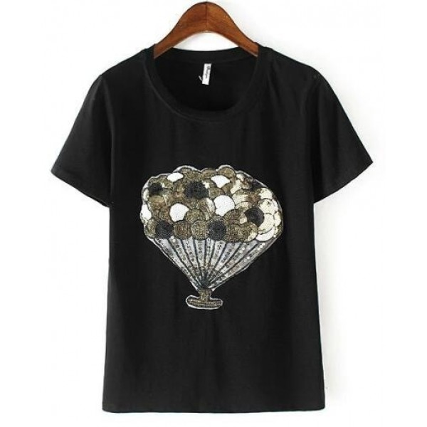 Black White Silver Balloons Sequins Short Sleeves T Shirt Top