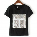 Black White famous 98 Sequins Short Sleeves T Shirt Top