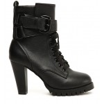 Black Lace Up High Top Combat Military Rider High Heels Boots Shoes