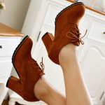 Brown Suede Old School Vintage Lace Up High Heels Women Oxfords Shoes