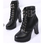 Black Skulls Lace Up High Top Combat Military Rider High Heels Boots Shoes