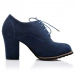 Blue Suede Old School Vintage Lace Up High Heels Women Oxfords Shoes