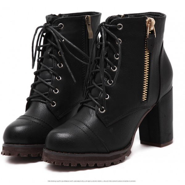 Black Platforms Combat Military Lace Up Zippers Ankle Boots Shoes