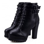 Black Studs Lace Up High Top Combat Military Rider High Heels Boots Shoes