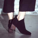 Black Suede Point Head Sexy Wooden Heels V Ankle Chelsea Boots