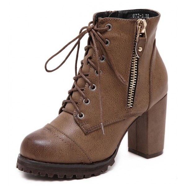 Brown Platforms Combat Military Lace Up Zippers Ankle Boots Shoes