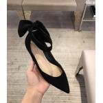 Black Suede Back Bow Point Head Ballerina Ballets Sandals Flats Shoes