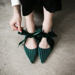 Green Twill Velvet Bow Point Head Ballerina Ballets Sandals Flats Shoes
