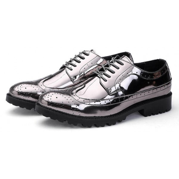 Silver Mirror Metallic Shiny Baroque Lace up Dappermen Mens Oxfords Shoes