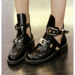 Black Gold Metal Buckles Punk Rock Gothic High Top Cut Out Boots Shoes