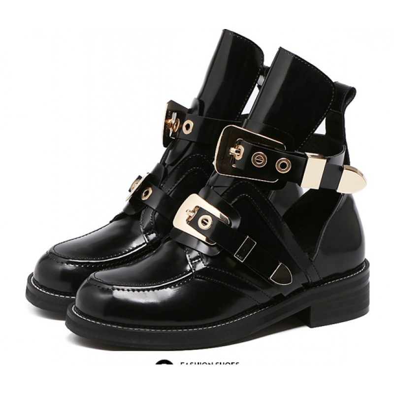 Black Gold Metal Buckles Punk Rock Gothic High Top Cut Out