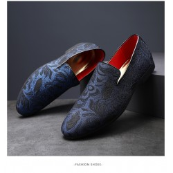 Blue Black Floral Embroidered Patterned Loafers Dapperman Dress Shoes Flats