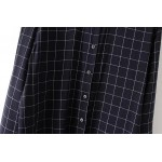 Navy Blue Checkers Vintage Retro Pattern Cotton Long Sleeves Blouse Shirt