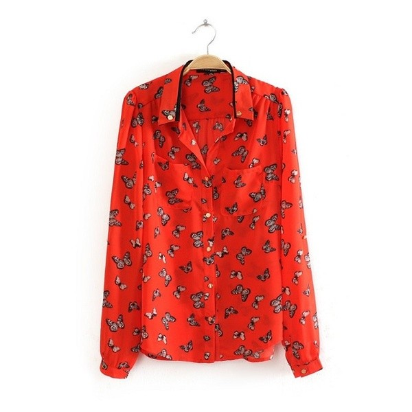 Orange Butterflies Retro Vintage Chiffon Long Sleeves Blouse Shirt