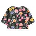 Grey Black White Always Flawless Flowers Floral Cropped Short Sleeves Tops T Shirt