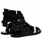 Black Buckles High Top Strappy Fashion Mens Sneakers Gladiator Roman Sandals
