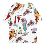 Black White Colorful Snacks Pizza Soda Junk Food Funky Short Sleeves T Shirt Top