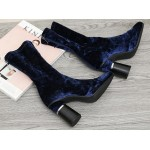 Blue Navy Velvet Suede Stretchy Blunt Head High Heeks Mid Calf Boots Shoes