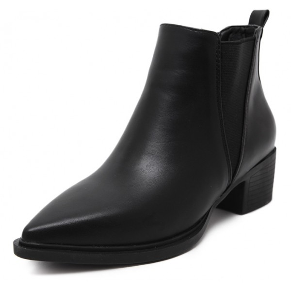 Black Pointed Head V Chelsea Ankle Boots Flats Shoes