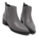 Grey Pointed Head V Chelsea Ankle Boots Flats Shoes