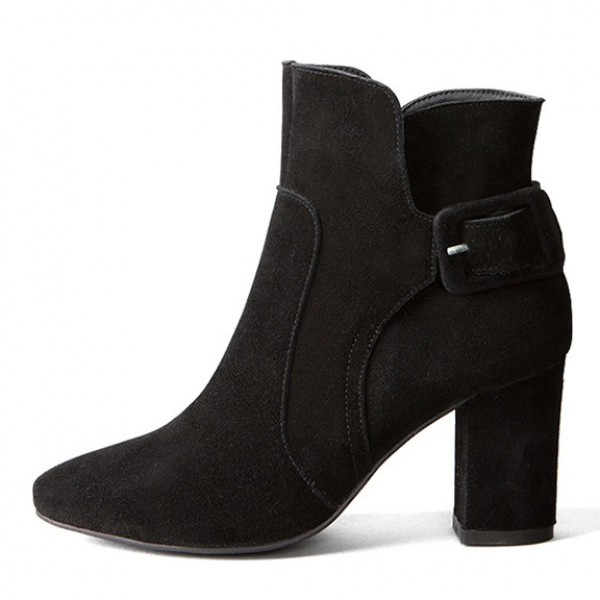 Black Suede Leather High Heels Ankle Boots Shoes