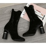 Black Velvet Suede Stretchy Blunt Head High Heeks Mid Calf Boots Shoes