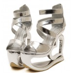 Silver Metallic Shiny Platforms Heart Hollow Out Wedges Sandals Bridal Shoes